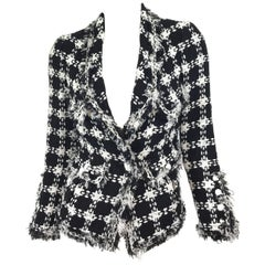 Chanel 07 P Black & White Tweed Jacket with Fringe