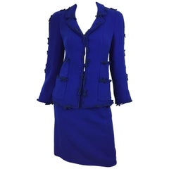 Chanel 2007 A Bow Blue Jacket and Skirt Set