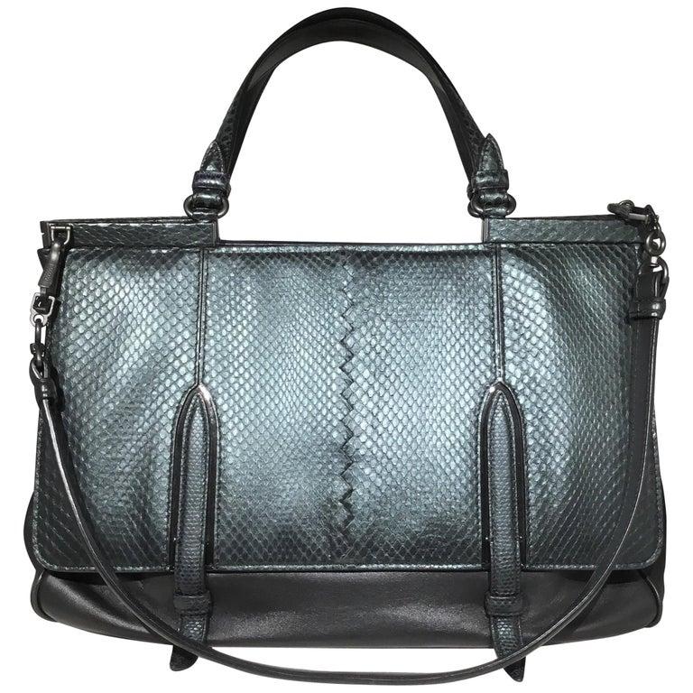 0bccc2398be Bottega Veneta Snakeskin Top Handle Shoulder Bag For Sale at 1stdibs