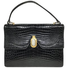 Vintage Gucci 1960's Black Crocodile Handbag