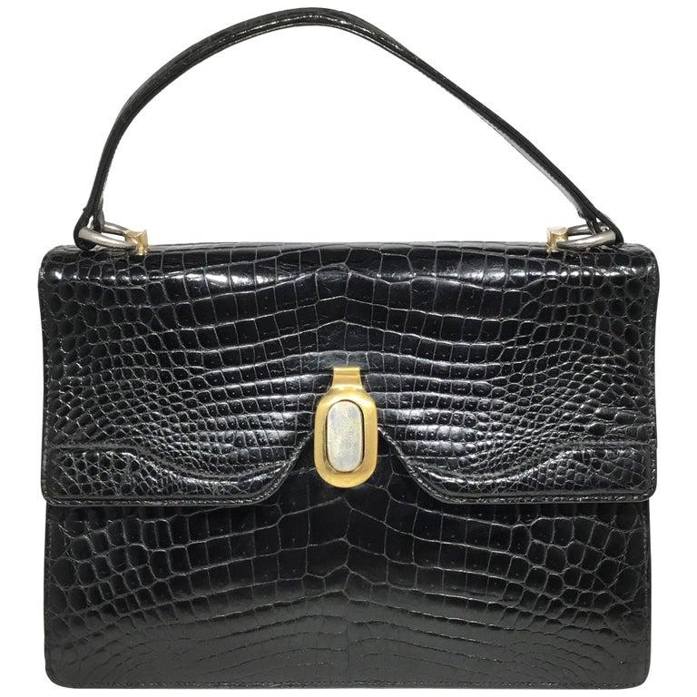 Vintage Gucci 1960 S Black Crocodile Handbag For Sale At
