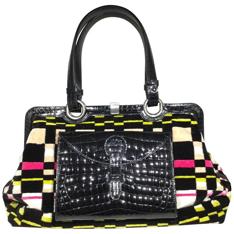 cf0fd819599 Bottega Veneta Special Edition Terry Cloth with Alligator Handbag For Sale
