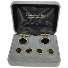 Christian Dior Vintage 1970's Gold and Black Cuff Links