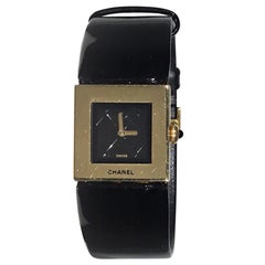 Chanel 18k Gold Matelassé Watch w/ Patent Leather Band