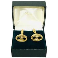 Gucci 18k Gold Horsebit Cufflinks