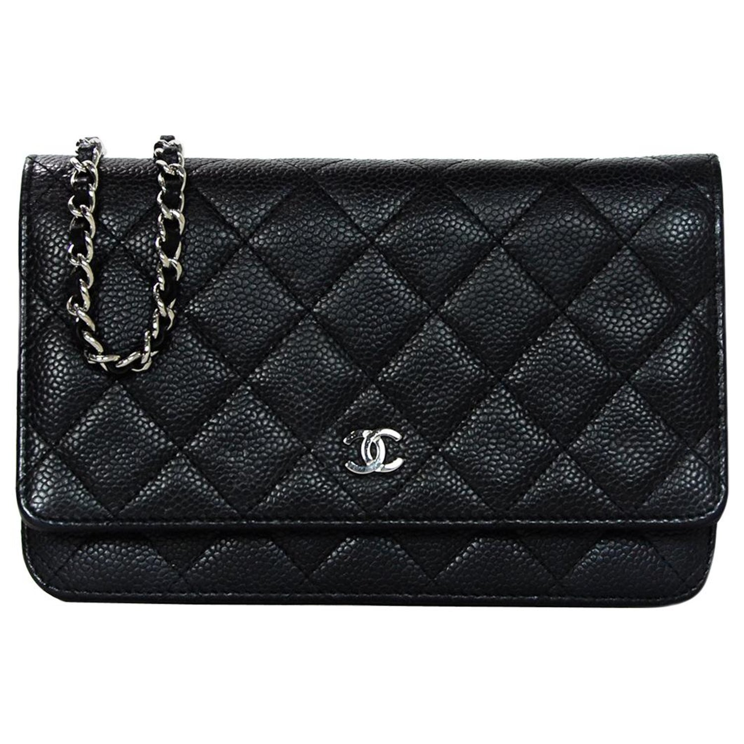 0d5b561c9290 Chanel Black Quilted Caviar Leather Wallet On A Chain WOC Crossbody Bag W/  DB For Sale at 1stdibs