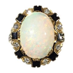 Opal 14k Gold Ring with Diamonds & Sapphire circa 1920