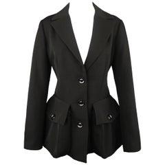YOHJI YAMAMOTO Size M Black Wool Point Lapel Zip Patch Flap Pocket Coat