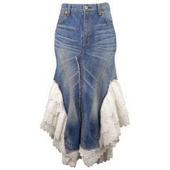 JUNYA WATANABE Size L Washed Denim SS2009 White Ruffle Mermaid Skirt