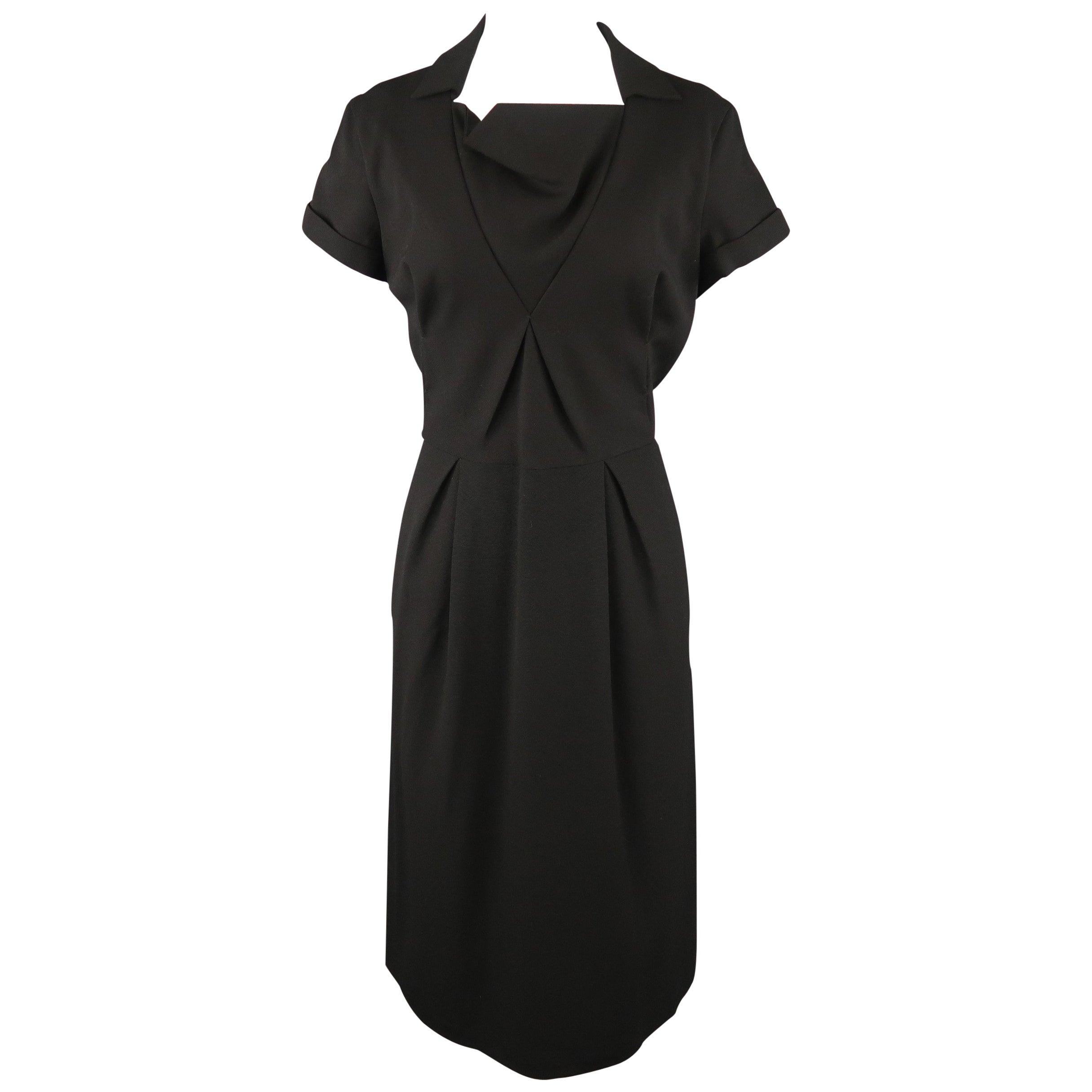 BOTTEGA VENETA Size 8 Black Virgin Wool Collared Oragami Shift Dress