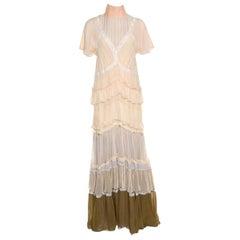 Chloe Beige and Lilac Tiered Silk Chiffon Lace Trim Ruffled Maxi Dress M