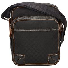 Celine Black Macadam Jacquard Crossbody Bag