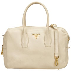 Prada White Leather Satchel