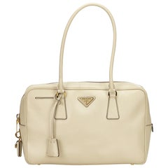 Prada White Saffiano Leather Bag