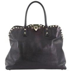 Valentino Rockstud Convertible Dome Satchel Leather