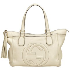 Gucci White Leather Soho Tassel Tote