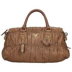 Prada Brown Gathered Leather Handbag