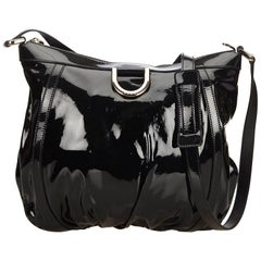 Gucci Black Patent Leather D-Ring Messenger Bag