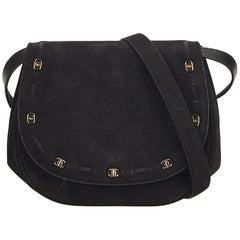 Ferragamo Black Suede Crossbody Bag