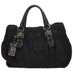 Prada Black Tessuto Gathered Nylon Handbag