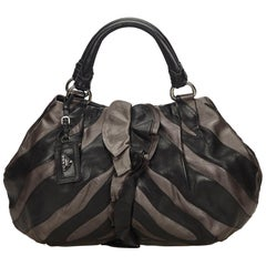 Prada Black Ruffled Mordore Leather Hobo Bag