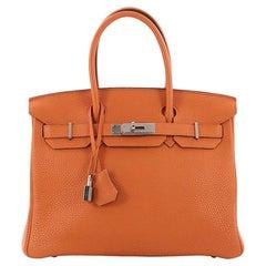 Hermes Birkin Handbag Orange Clemence with Palladium Hardware 30