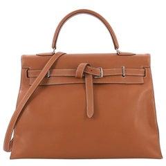 Hermes Kelly Flat Handbag Gold Swift with Palladium Hardware 35