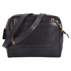 Chanel Vintage Stitched CC Shoulder Bag Caviar Medium