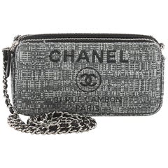 Chanel Deauville Double Zip Clutch with Chain Canvas