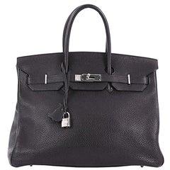 Hermes Birkin Handbag Black Clemence with Palladium Hardware 35