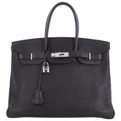 Hermes Birkin Handbag Black Togo with Palladium Hardware 35