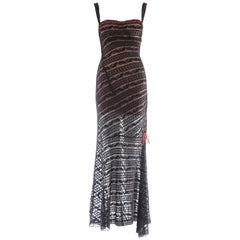 Azzedine Alaia black lace knit evening dress, ca. 1993