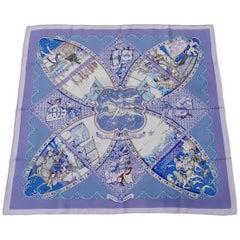 Hermès Silk Scarf La Vie à Cheval Bourthoumieux Purple 90 cm