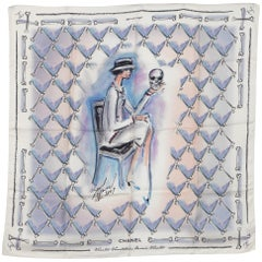 Chanel 2009s Collector Vanitas Silk Scarf By Karl Lagerfeld