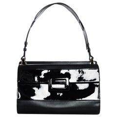 Roger Vivier Black Leather/Patent Top Handle Bag w. Dust Bag