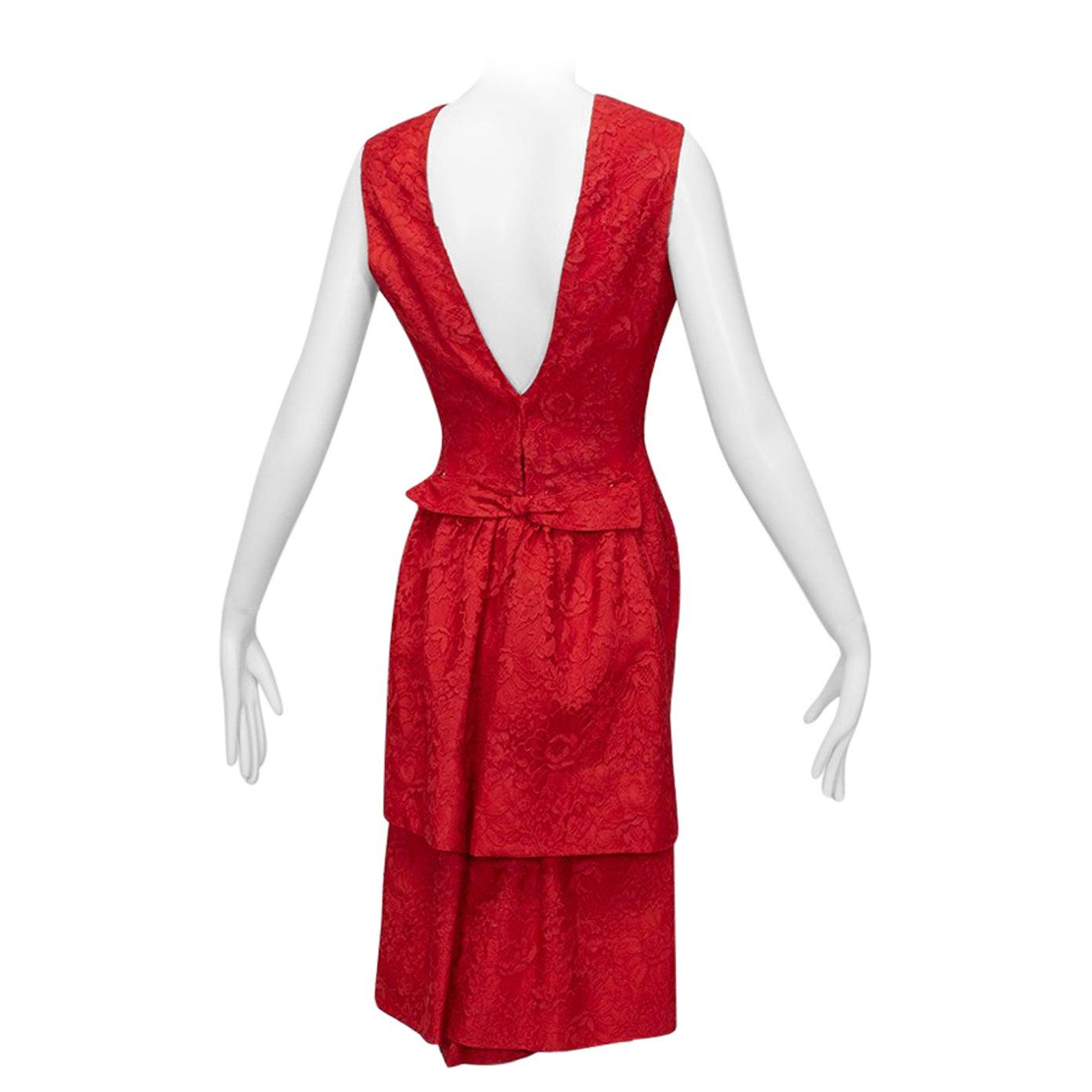 Jacques Cassia Haute Couture Plunge Back Bustle Dress, 1960s
