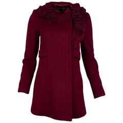 Elie Tahari Red Wool Coat W/ Ruffle Collar Sz XS