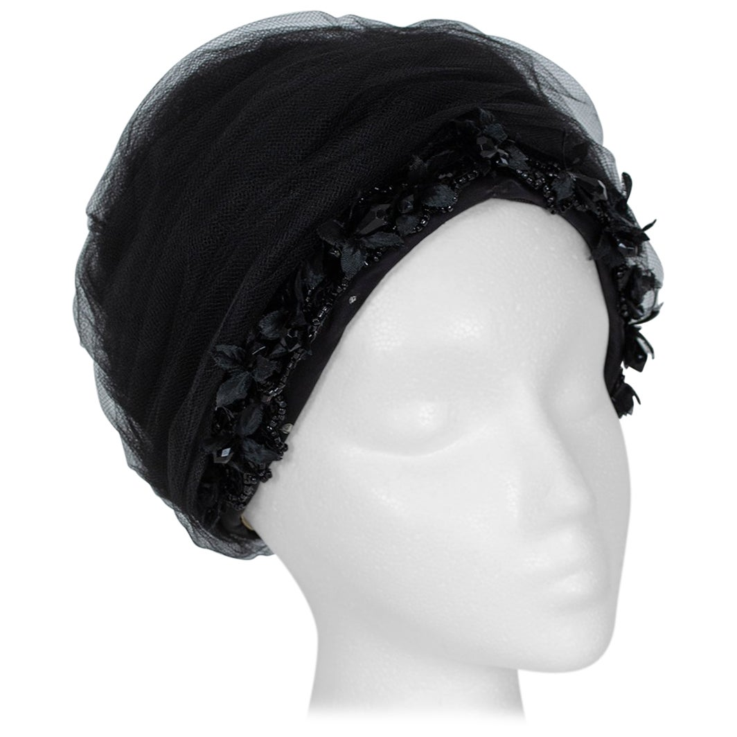 Tulle Cocktail Turban Hat with Beaded Floral Trim, 1960s
