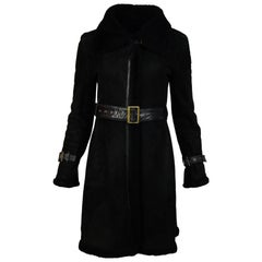 Searle Black Moto Shearling Coat W/ Belt Sz XS