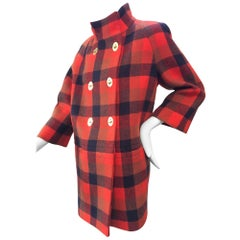 Coach Womens Red Tartan Plaid Turnlock Wool Coat