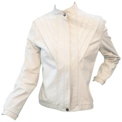 Vintage 1980s White Leather Jacket by Casablanca