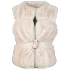 Valentino Pink Mink Fur & Leather Vest Sz 42