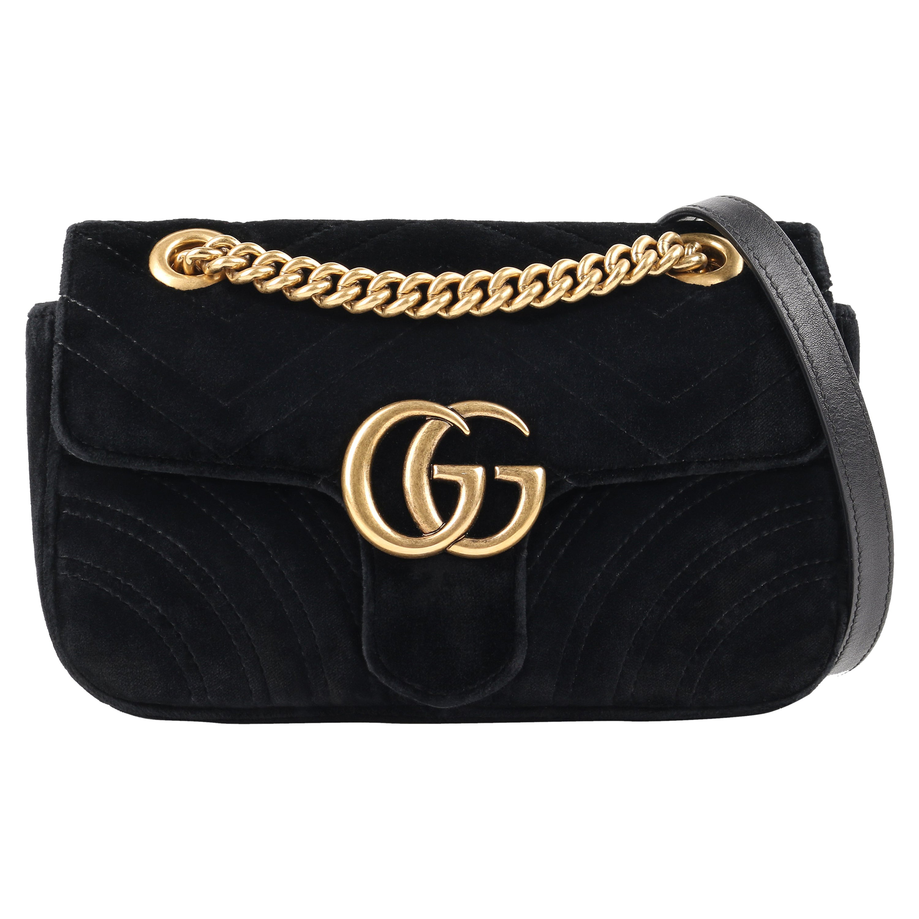 "GUCCI A/W 2016 ""GG Marmont Mini"" Quilted Velvet Flap Top Chain Handle Purse"
