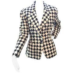 Vintage Donna Karan DKNY Wool Houndstooth Ladies Jacket