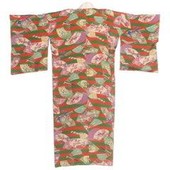 1940s Silk Kimono with Japanese Fans
