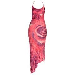 Roberto Cavalli 1990s Red Rose Printed Bias Silk Dress