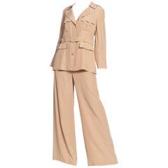 1990s Lolita Lempicka Satin Lined YSL Style Safari Suit