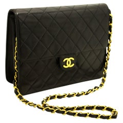 CHANEL Small Chain Shoulder Bag Black Clutch Flap Quilted Lambskin