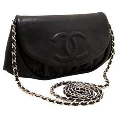 CHANEL Caviar Half Moon WOC Black Wallet On Chain Shoulder Bag