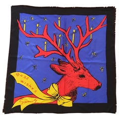 Givenchy Holiday Christmas Reindeer Scarf 1980s